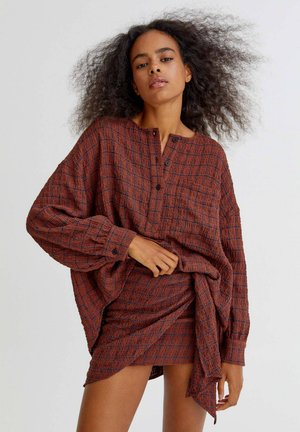 KARIERTER  - Wrap skirt - orange