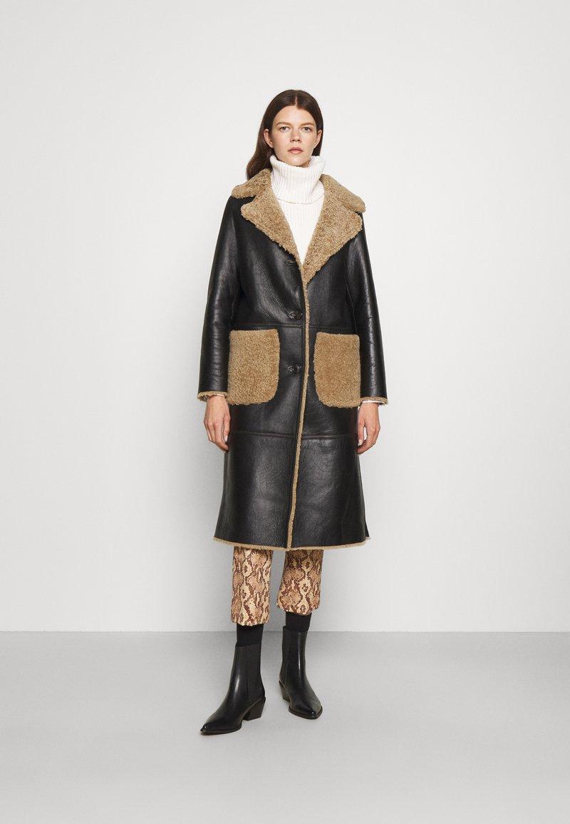 STUDIO ID - KATHERINE CONTRAST POCKET COAT  - Leather jacket - black/cream