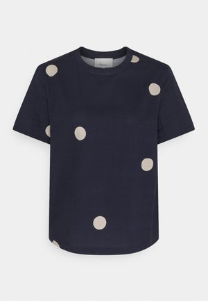 DOTTED PRINT - Print T-shirt - midnight/beige