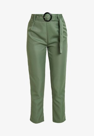 BELTED HIGH WAISTED CIGARETTE TROUSERS - Tygbyxor - green
