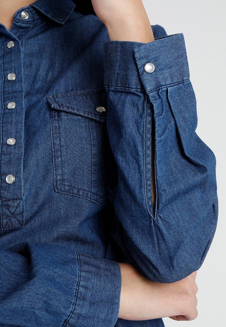 Cotton On Tammy Long Sleeve Dress Robe Chemise Dark Denim Bleu Zalando Fr