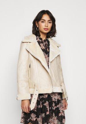 NEW CORA - Faux leather jacket - ecru