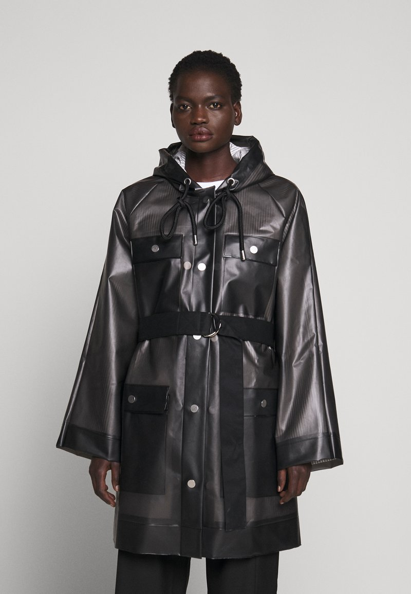 Proenza Schouler White Label - BELTED WITH STRIPED LINING - Parka - dark grey
