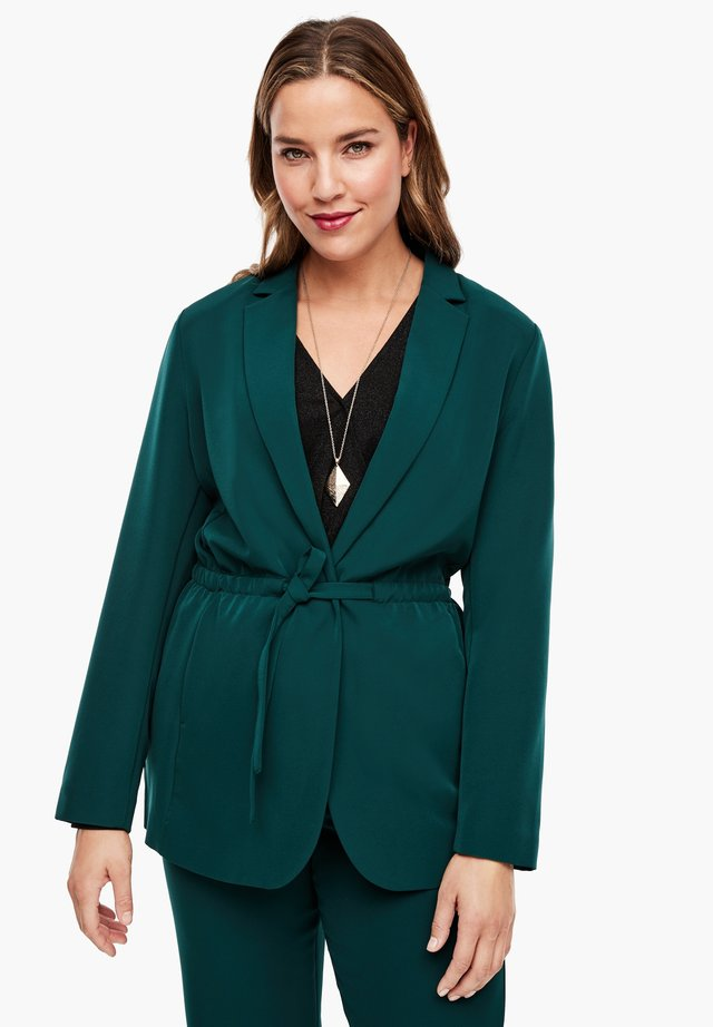 MIT BINDEGÜRTEL - Short coat - emerald