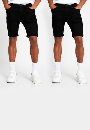 2 PACK - Denim shorts - black