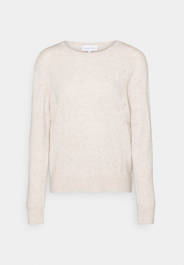 DOTTED SWEATER - Jumper - light beige