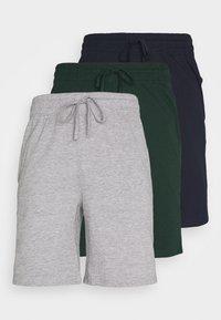 Pier One - 3 PACK - Pyjamasbyxor - dark blue /mottled dark grey/dark green - 0