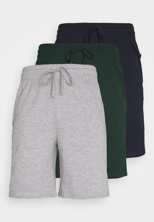 3 PACK - Pyjamahousut/-shortsit - dark blue /mottled dark grey/dark green