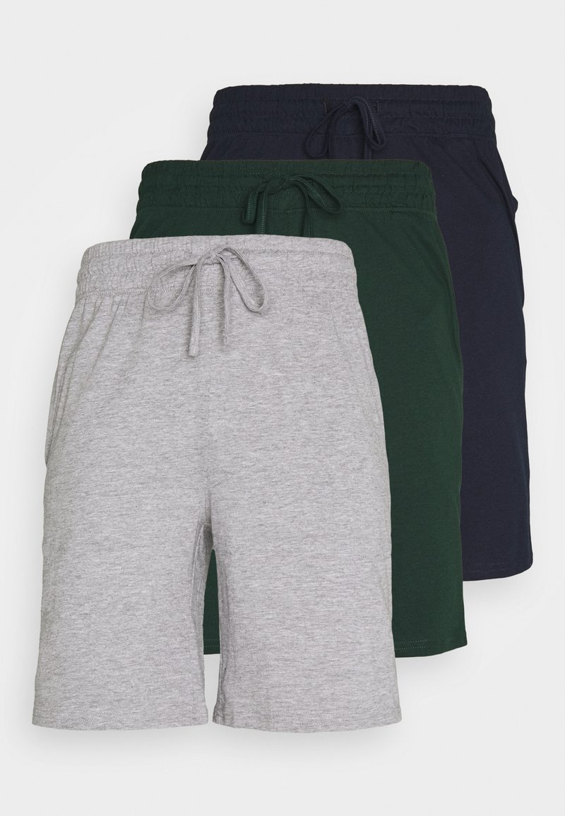 Pier One - 3 PACK - Pyjamasbyxor - dark blue /mottled dark grey/dark green