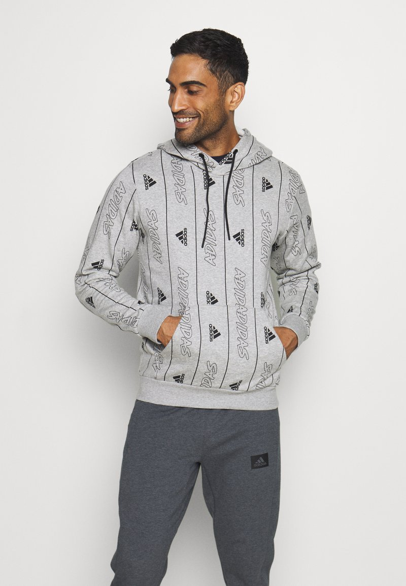 adidas Performance - Hoodie - medium grey heather/black