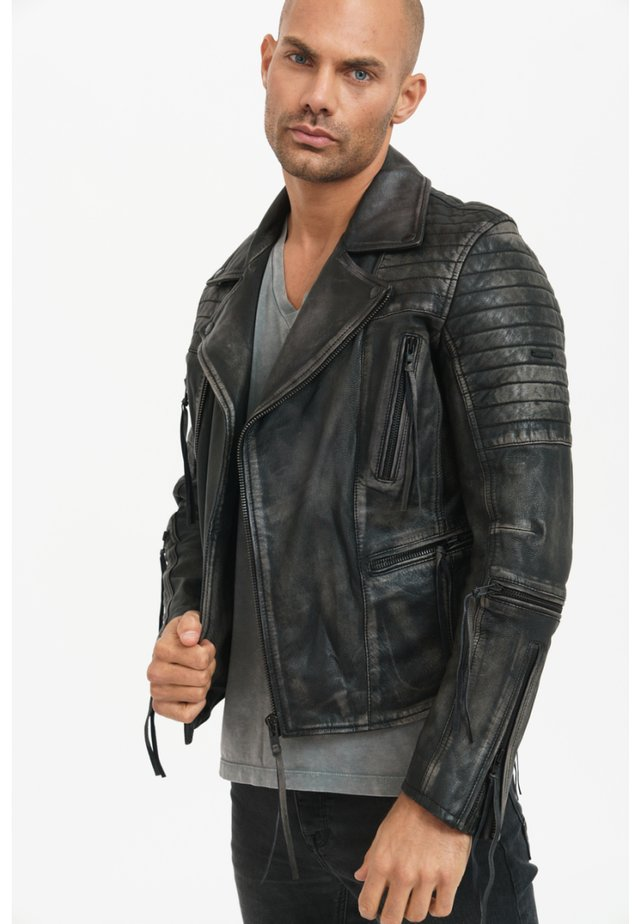 BRYAN - Leather jacket - black