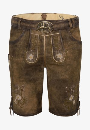 HULFING - Leather trousers - brown
