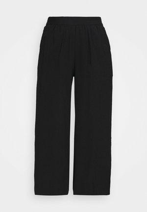 Cropped wide leg trouser - Broek - black