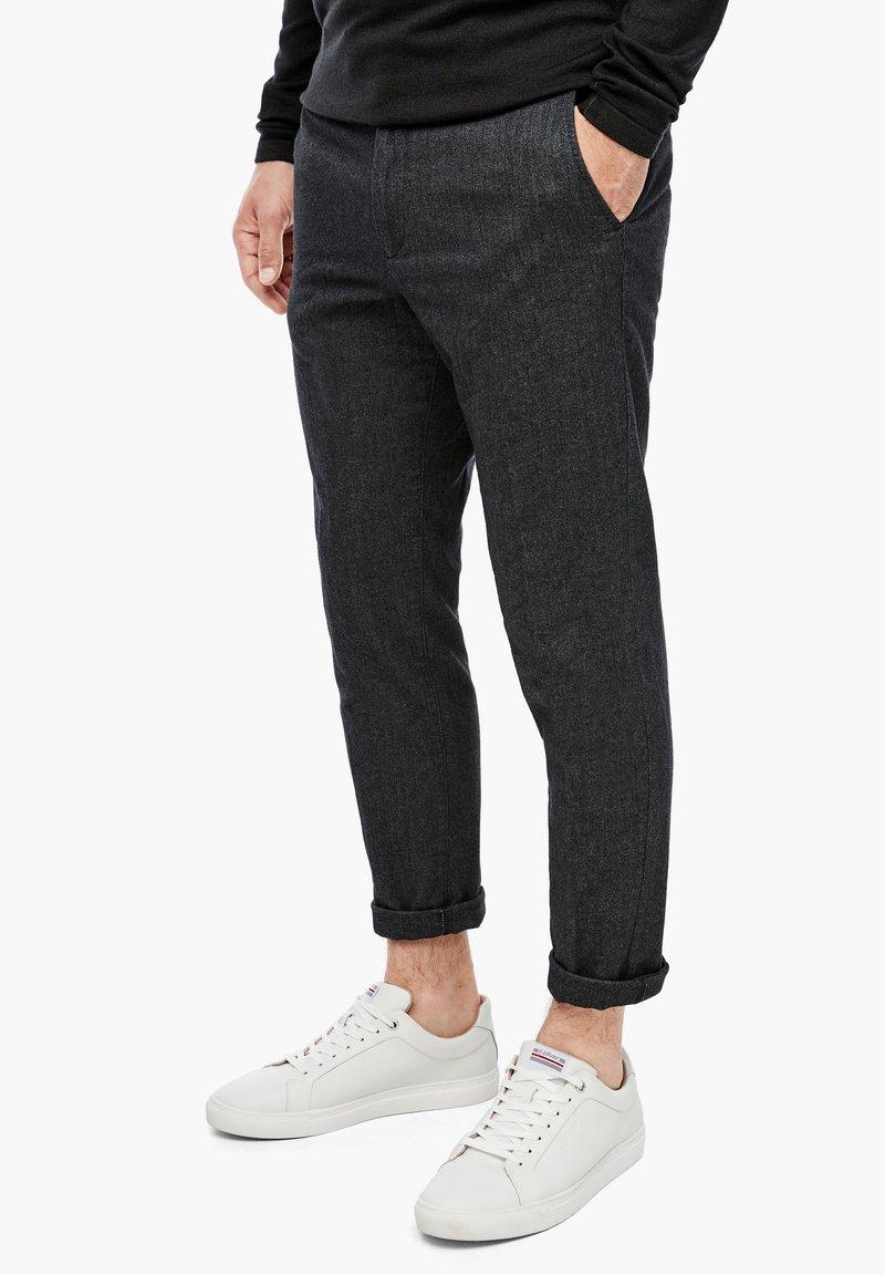 s.Oliver BLACK LABEL - Trousers - grey heringbone