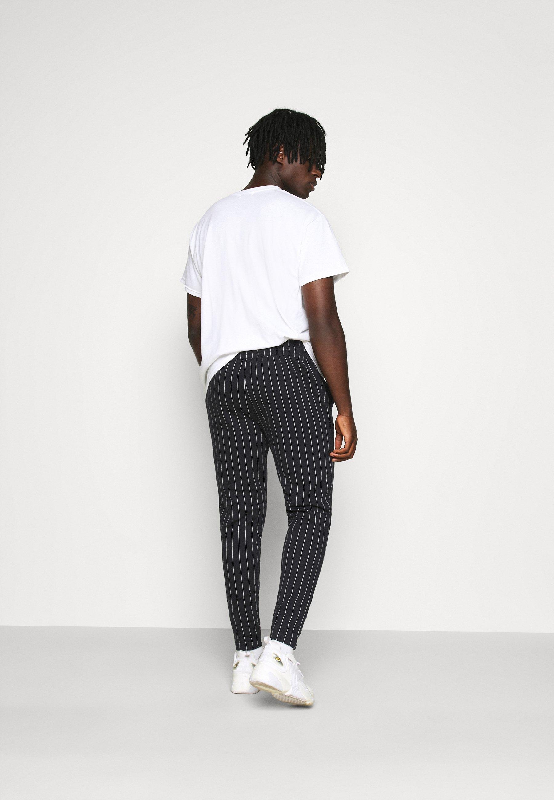 Topman STRIPE JOG - Tracksuit bottoms - black 1robl