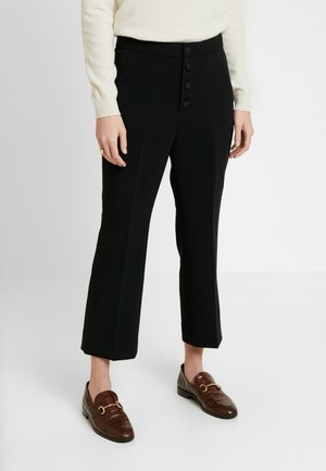 CROP KICK FLARE BUTTON FLYSOLIDS - Pantaloni - black
