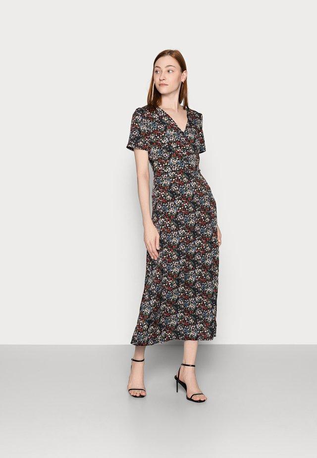 HALF BUTTON DRESS DITSY - Robe d'été - black