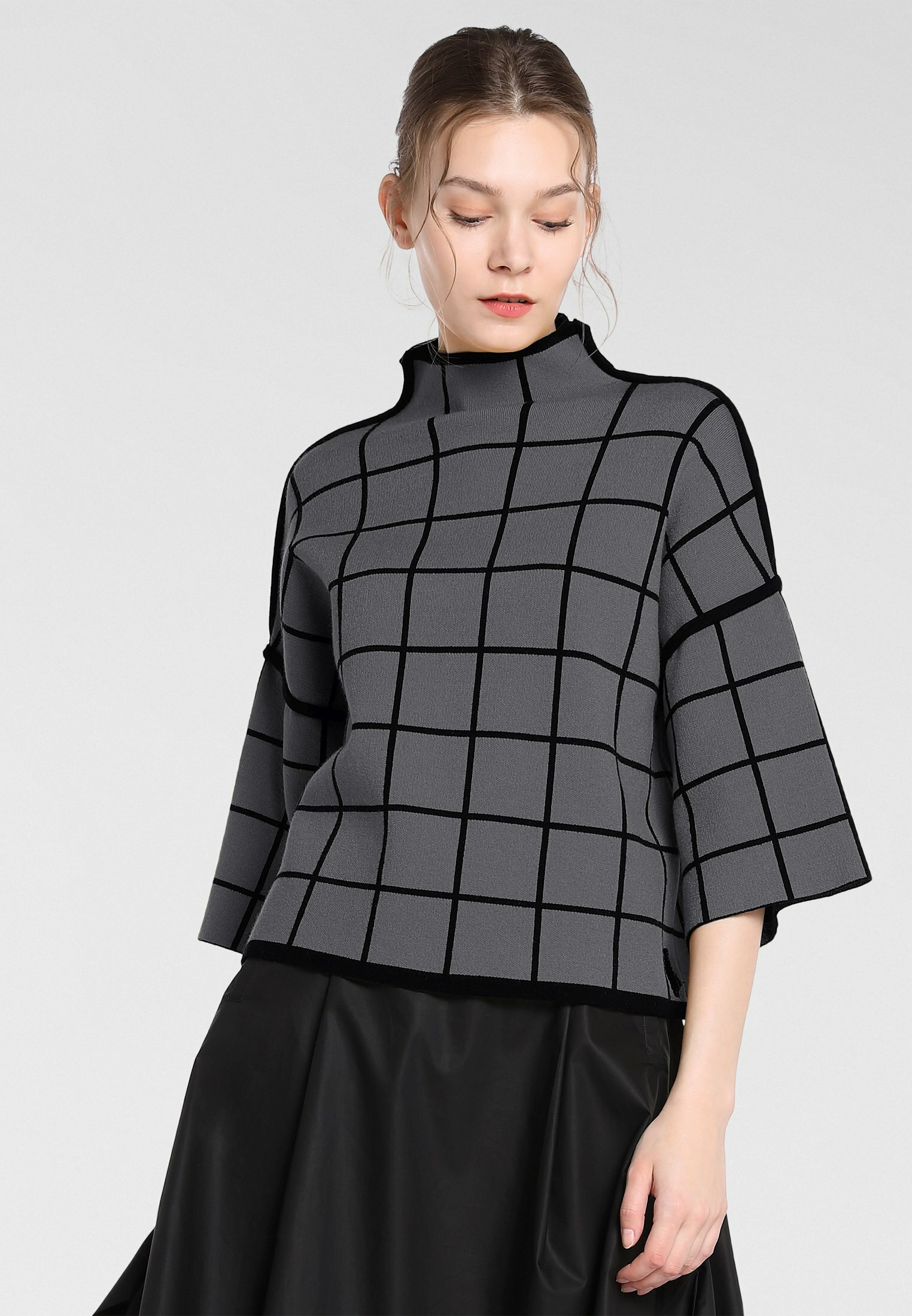 Drop Shipping Women's Clothing Apart Jumper grau-schwarz qMQn5Hq4w