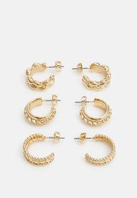 PCJYMMIA HOOP EARRINGS 3 PACK - Earrings - gold-coloured