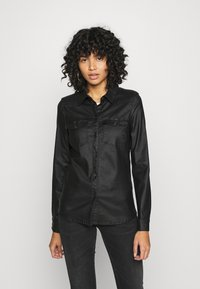 Vero Moda - VMMARIASLIM COATED SHIRT  - Button-down blouse - black - 0