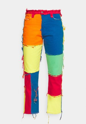 PATCHWORK BOYFRIEND WITH FRAYED SEAMS - Straight leg -farkut - multi