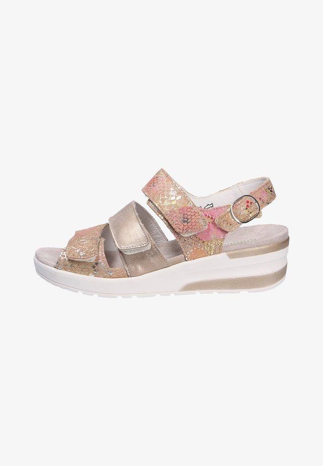 Sandalen met sleehak - beigelightgold
