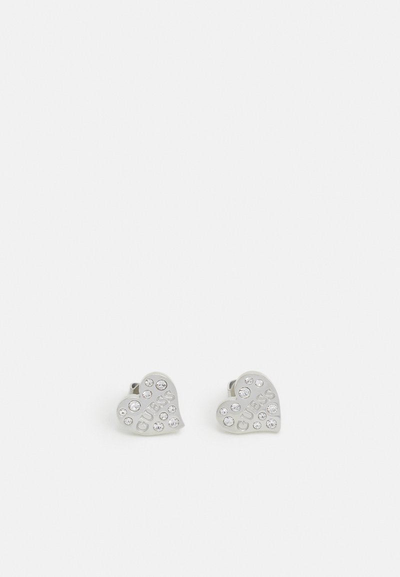 Guess - CRYSTALS LOGO HEART STUDS  - Øredobber - silver-coloured