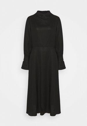 MIDI DRESS WITH BUTTON SLEEVE - Koktejlové šaty/ šaty na párty - black