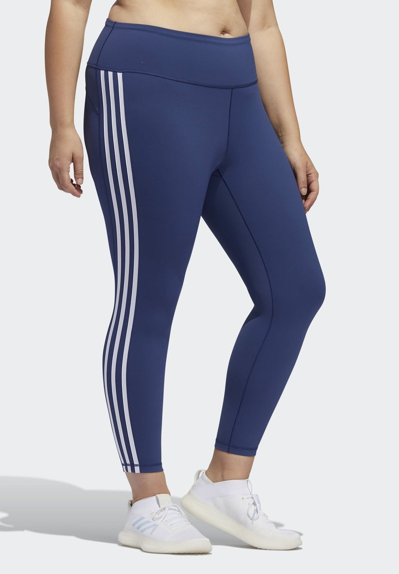 adidas Performance - BELIEVE THIS 3-STRIPES 7/8 LEGGINGS - Tights - blue