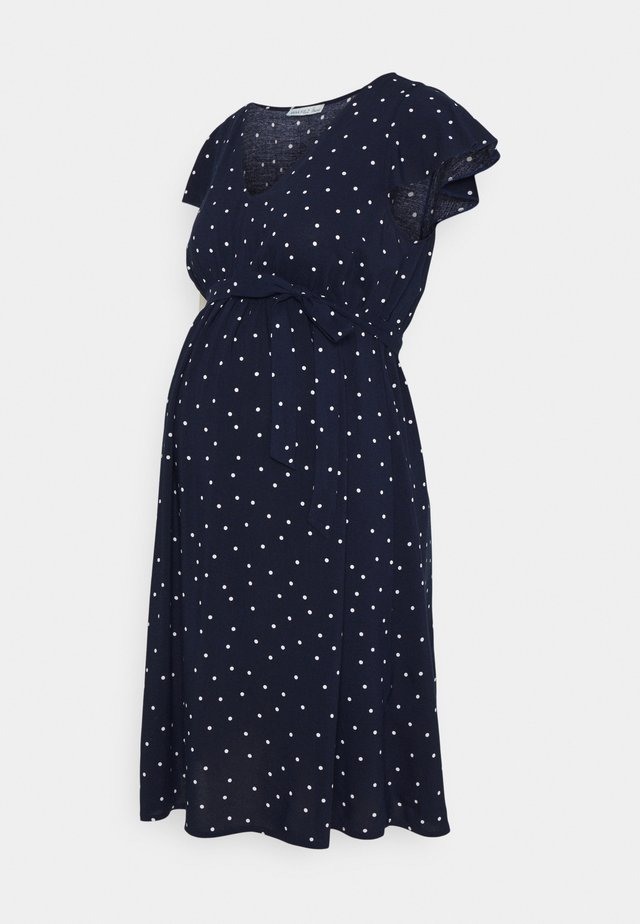 VOLANT DRESS BELT DRESS - Jerseyklänning - dark blue /white