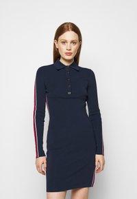 MICHAEL Michael Kors - LOGO TAPE SPLIT HEM DRESS - Shift dress - midnightblue - 0