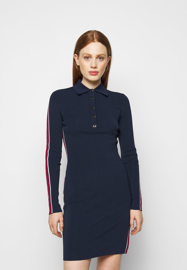 LOGO TAPE SPLIT HEM DRESS - Shift dress - midnightblue