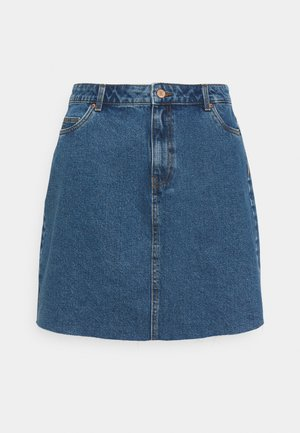 VMMIKKY RAW SKIRT MIX - Mini skirt - medium blue denim