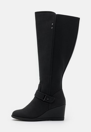 WIDE FIT CICELY - Wedge boots - black