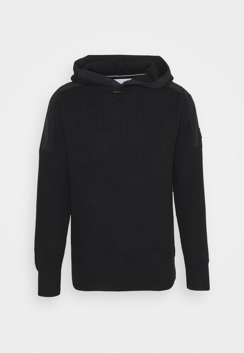 Calvin Klein Jeans - MIXED MEDIA HOODED - Hoodie - black