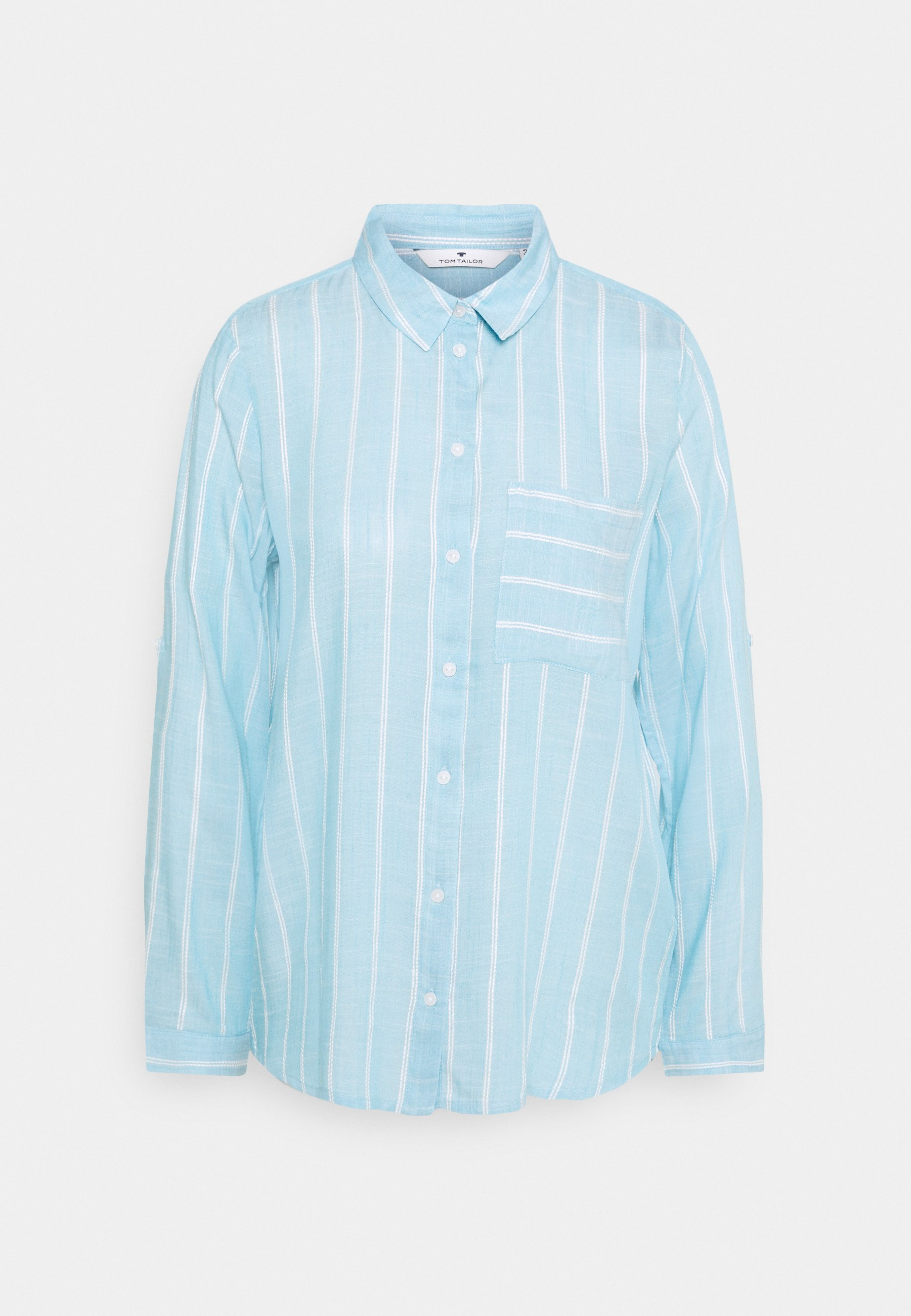 Women BLOUSE WITH STRUCTURED STRIPE - Button-down blouse
