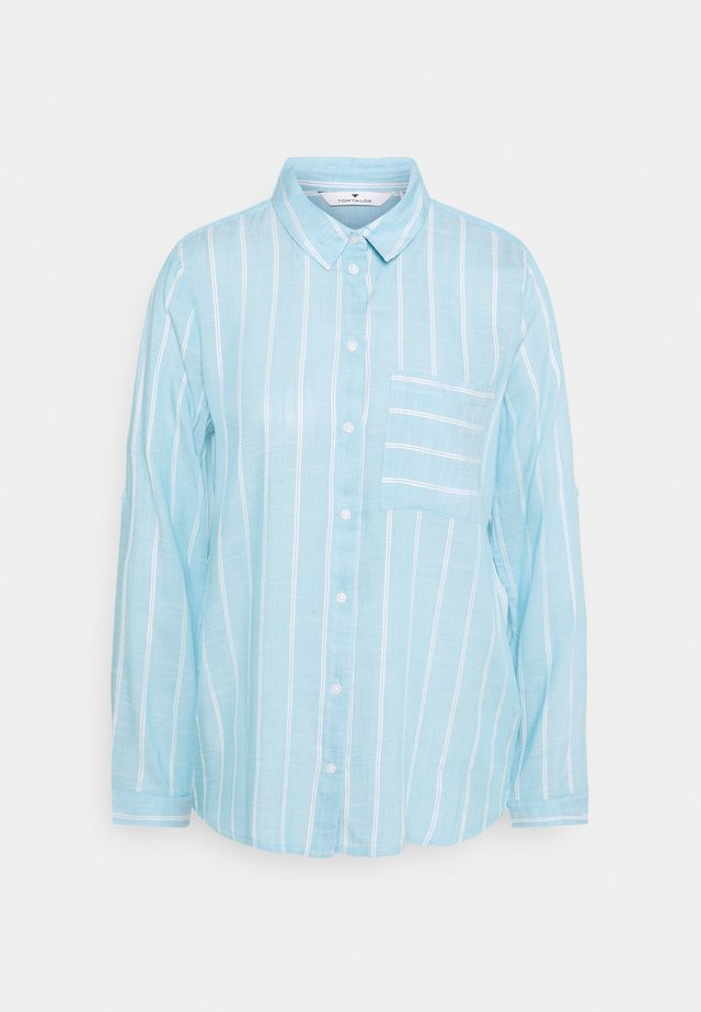 BLOUSE WITH STRUCTURED STRIPE - Button-down blouse - blue