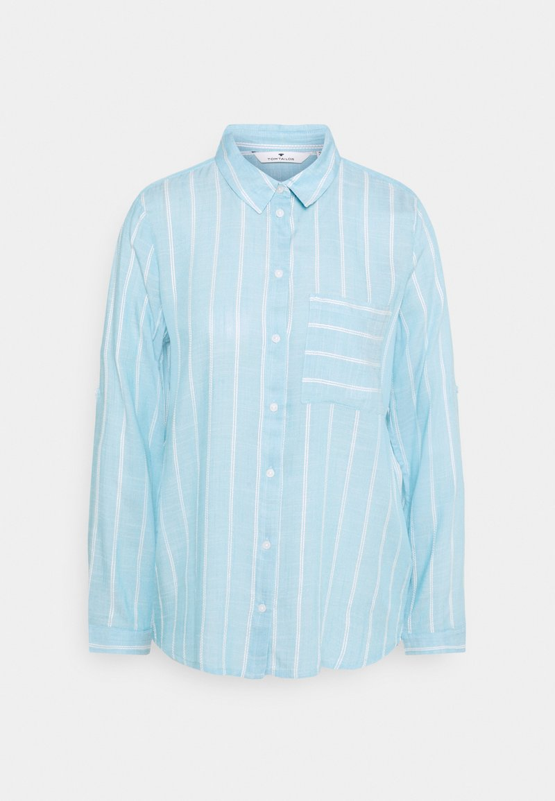 TOM TAILOR - BLOUSE WITH STRUCTURED STRIPE - Button-down blouse - blue