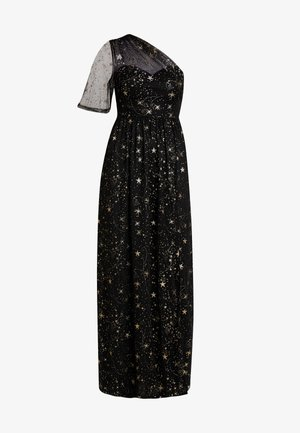 ONE SHOULDER STAR DRESS WITH THIGH SPLIT - Společenské šaty - black/gold