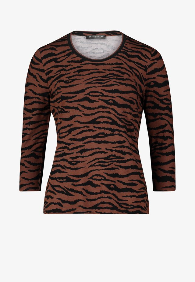 MIT RIPPBÜNDCHEN - Long sleeved top - brown/black