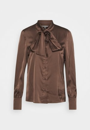 BLOUSE BOW - Button-down blouse - chocolate
