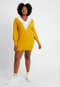 Simply Be - ELEVATED ESSENTIALS V-NECK DRESS - Strikket kjole - colour block chevron - 2