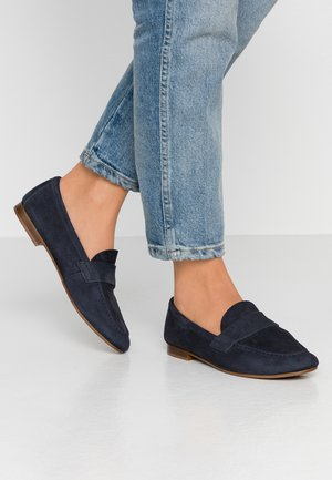 LEATHER SLIPPERS - Mocassins - dark blue