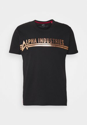 T-shirt con stampa - black/copper