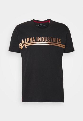 Print T-shirt - black/copper