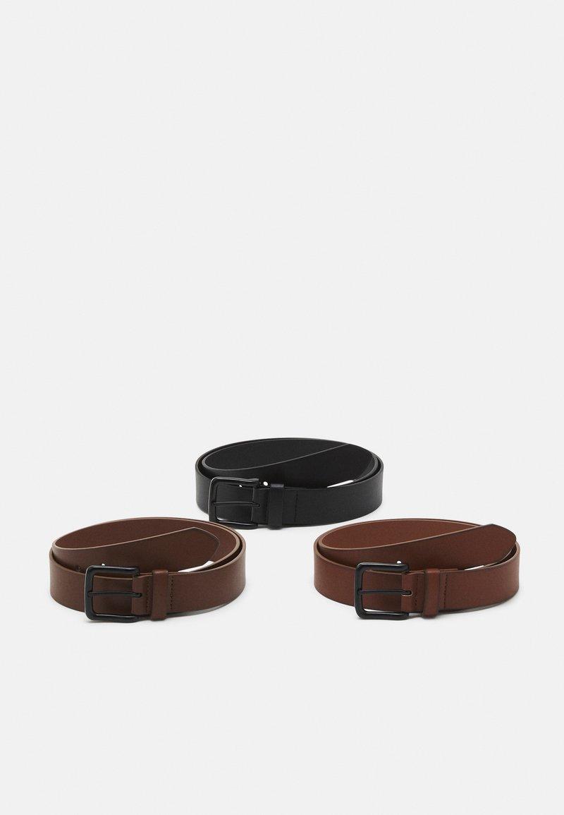 Pier One - 3 PACK UNISEX - Riem - black/brown /cognac