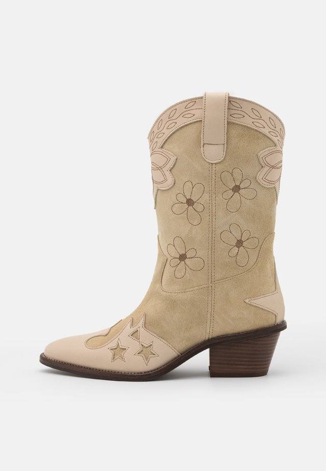 HOLLY MID HIGH FLOWER SPECIAL - Cowboy-/Bikerlaarzen - cream white/camel