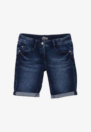 SLIM FIT - Denim shorts - blue