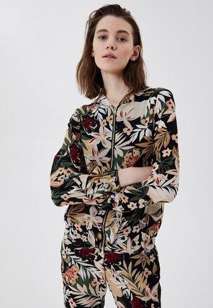 Zip-up sweatshirt - black with tropical print