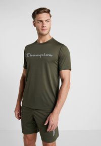 Champion - CREWNECK RUN - Print T-shirt - dark green - 0